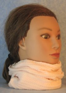 Neck Warmer in Light Pink Waffle Knit-right