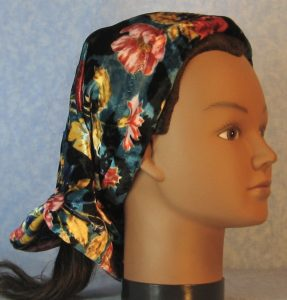 Scarf in Red Pink Blue Flowers on Teal Black Velvet-right