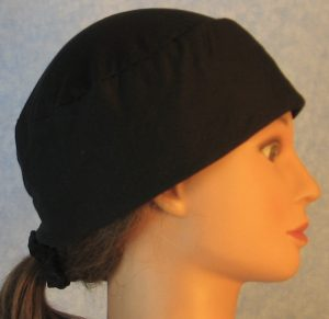 Skull Cap in Black Polyester Knit-right