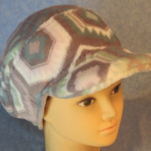 Slouchy Beanie in Blue Purple Pink White Hexagon Super Soft Fleece-ponytail top right