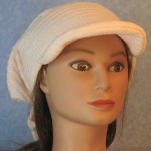 Slouchy Beanie in Light Pink Waffle Knit-front