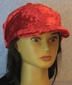 Slouchy Beanie in Red Crushed Velour-front