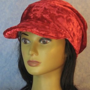 Slouchy Beanie in Red Crushed Velour-left front