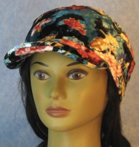 Slouchy Beanie in Red Pink Blue Flowers on Teal Black Velvet-front