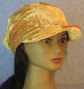 Slouchy Beanie in Yellow Crushed Velour-front