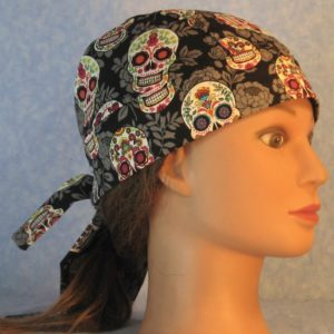 Hair Bag in Do Rag in Pink Green Yellow Sugar Skulls Gray Flowers on Black-right