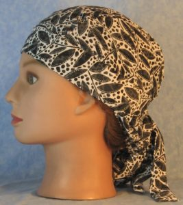 Hair Bag in Black Leaves with Spots on White Chiffon-left