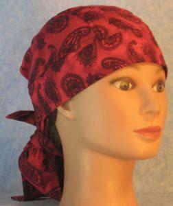Hair Bag in Black Line Paisleys on Rose Pink Motley-front