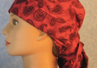Hair Bag in Black Line Paisleys on Rose Pink Motley-left