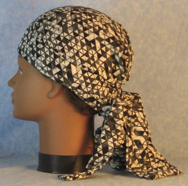 Hair Bag in Black White Gray Triangles Chiffon-left
