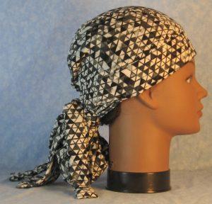 Hair Bag in Black White Gray Triangles Chiffon-right