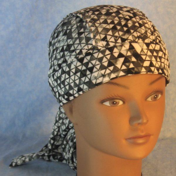 Hair Bag in Black White Gray Triangles Chiffon-top