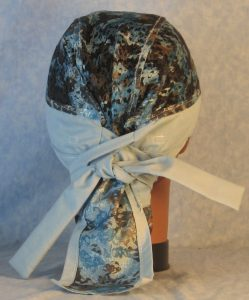 Hair Bag in Blue Gray Lace with Blue-back