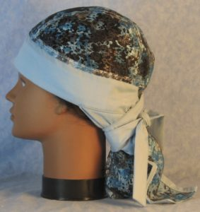 Hair Bag in Blue Gray Lace with Blue-left