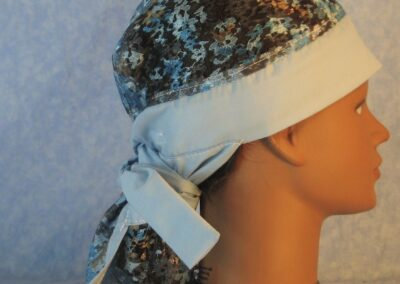 Hair Bag in Blue Gray Lace with Blue-right
