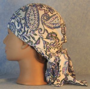 Hair Bag in Blue Purple Gray Folk Flower Paisley Silk-left