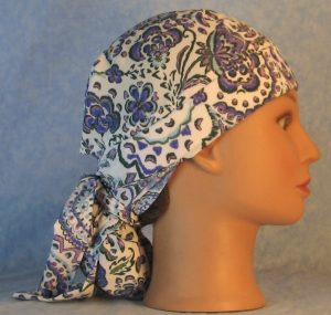 Hair Bag in Blue Purple Gray Folk Flower Paisley Silk-right