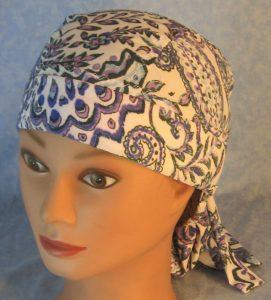 Hair Bag in Blue Purple Gray Folk Flower Paisley Silk-top