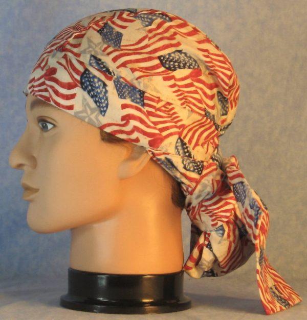 Hair Bag in Flags Gray Stars on White-left