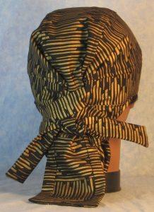 Hair Bag in Gold Columns on Black-back