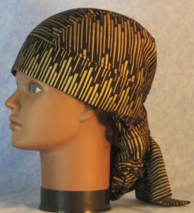 Hair Bag in Gold Columns on Black-left
