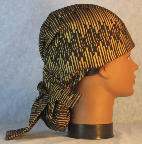 Hair Bag in Gold Columns on Black-right