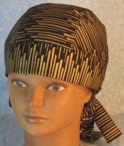 Hair Bag in Gold Columns on Black-top