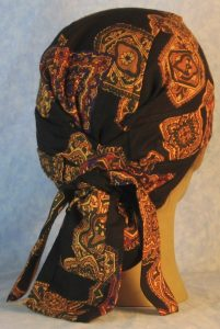 Hair Bag in Gold Medallions with Olive Purple Red on Black Rayon-back