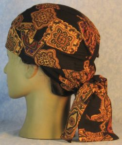 Hair Bag in Gold Medallions with Olive Purple Red on Black Rayon-left