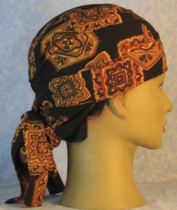 Hair Bag in Gold Medallions with Olive Purple Red on Black Rayon-right