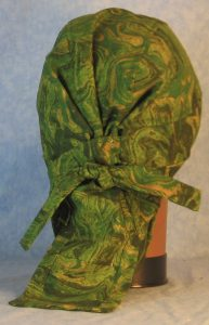 Hair Bag in Green Yellow Olive Oily Swirls-back