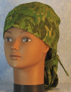 Hair Bag in Green Yellow Olive Oily Swirls-front