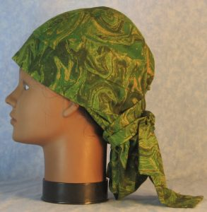 Hair Bag in Green Yellow Olive Oily Swirls-left