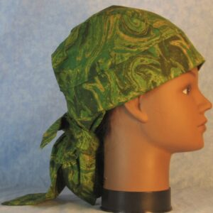 Hair Bag in Green Yellow Olive Oily Swirls-right