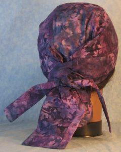 Hair Bag in Lavender Purple Grape Vines Batik-back