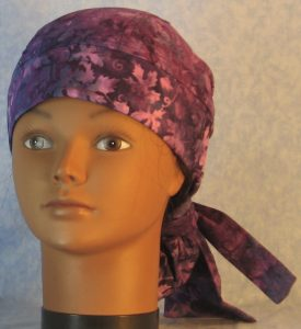 Hair Bag in Lavender Purple Grape Vines Batik-front