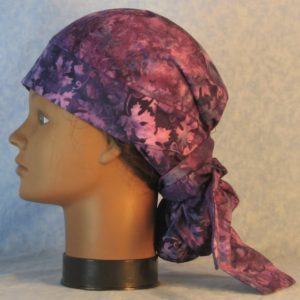 Hair Bag in Lavender Purple Grape Vines Batik-left