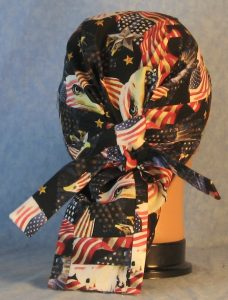 Hair Bag in Red White Blue Flags Eagle Head Eagle Flying-back