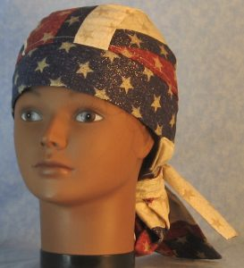 Hair Bag in Red White Blue Stripe with Gold Stars-front