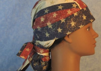 Hair Bag in Red White Blue Stripe with Gold Stars-right