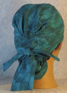 Hair Bag in Turquoise with Sun Clouds in Black Lines-back