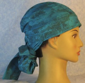 Hair Bag in Turquoise with Sun Clouds in Black Lines-right