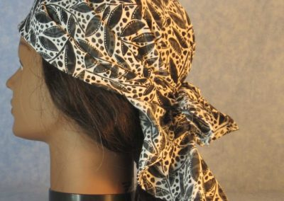 Head Wrap in Black Leaf Branches Dot on White-left