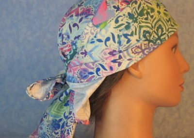 Head Wrap in Blue Green Purple Pink Flower Doily-right