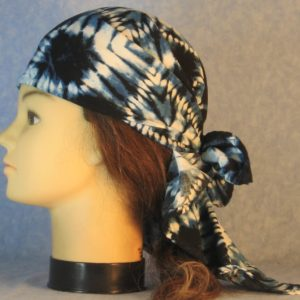Head Wrap in Blue Navy Blue White Tie Dyed-left