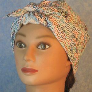 Head Wrap in Blue Turquoise Red Diamond on Blue White Tie Dye-turban front