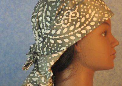 Head Wrap in Gray White Flower Dots Branch Batik-right