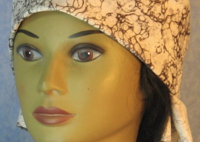 Head Wrap in Gray White Marble-front