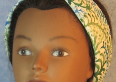 Head Wrap in Green Blue Curved Branches on White-band front