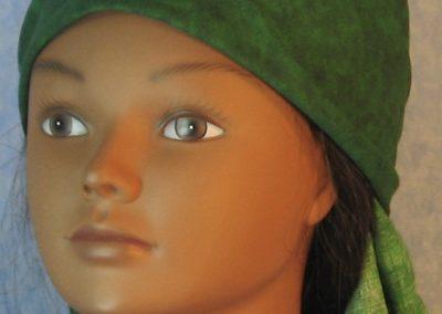 Head Wrap in Green Motley-front left